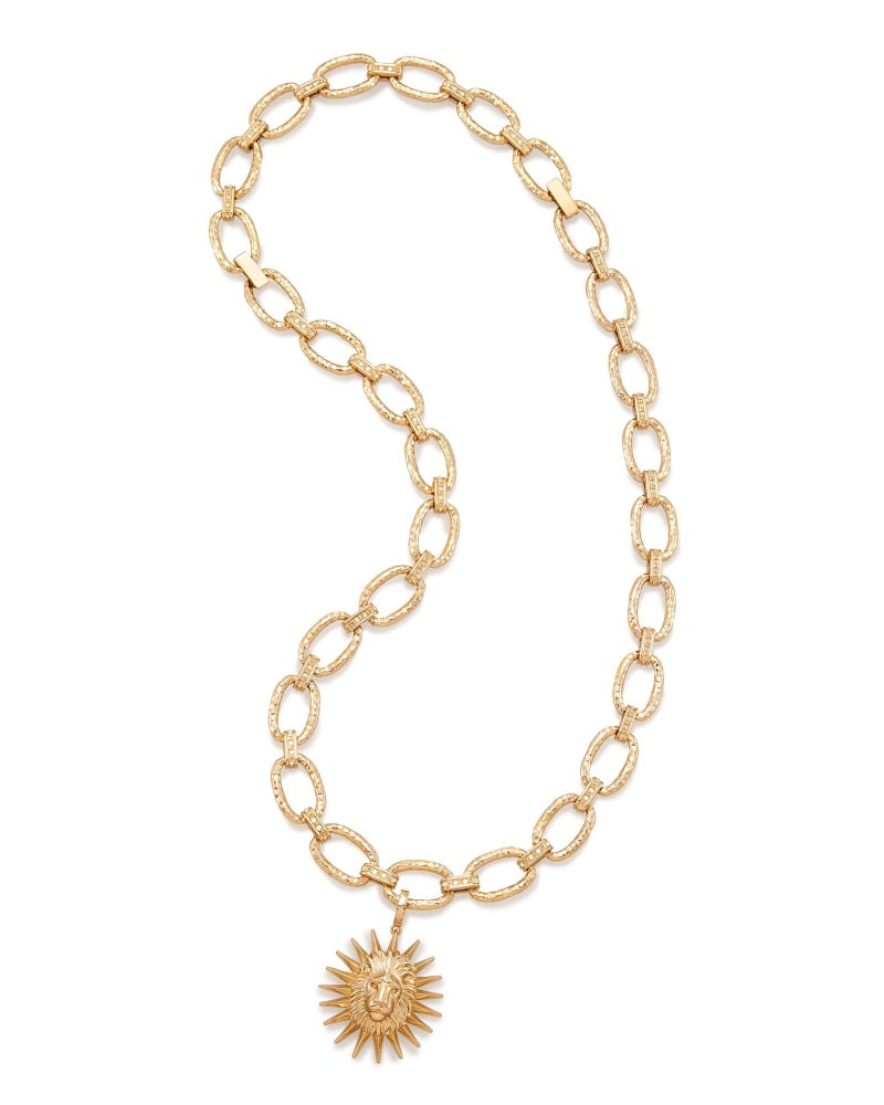 Athena Long Pendant Necklace in Brass