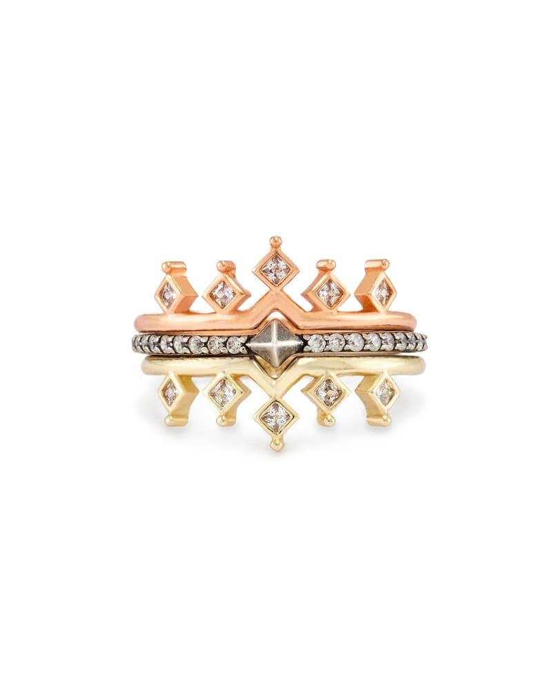 Lottie Stackable Ring Set in Mixed Metals