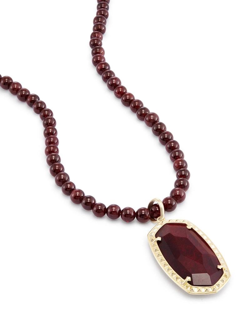 Marlowe Long Pendant Necklace in Bordeaux Tiger's Eye