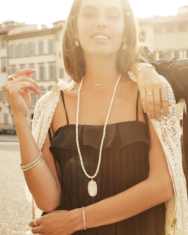 Marlowe Long Pendant Necklace in Crystal Ivory Illusion