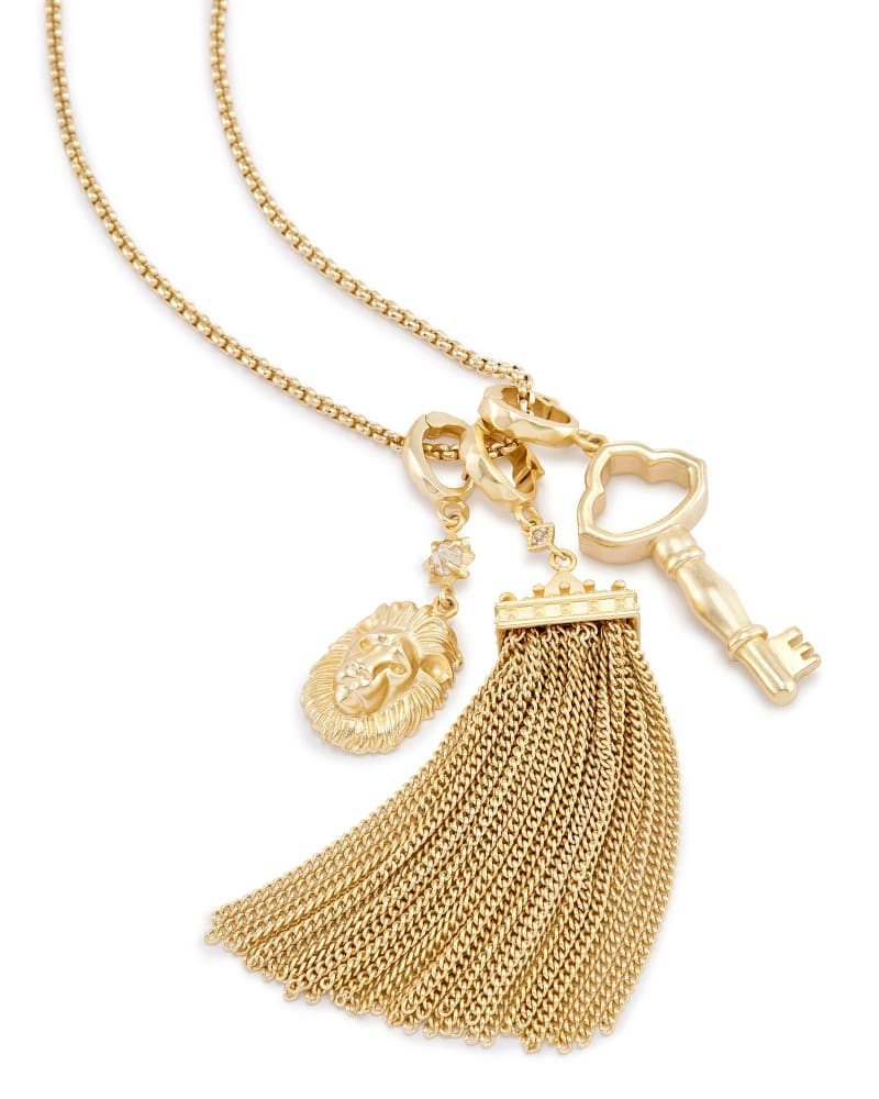 Zosia Long Pendant Necklace in Gold