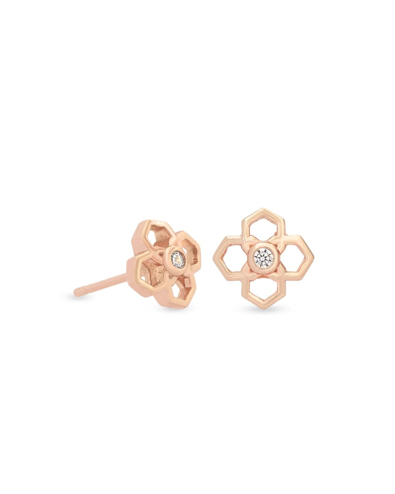Rue Stud Earrings In Rose Gold