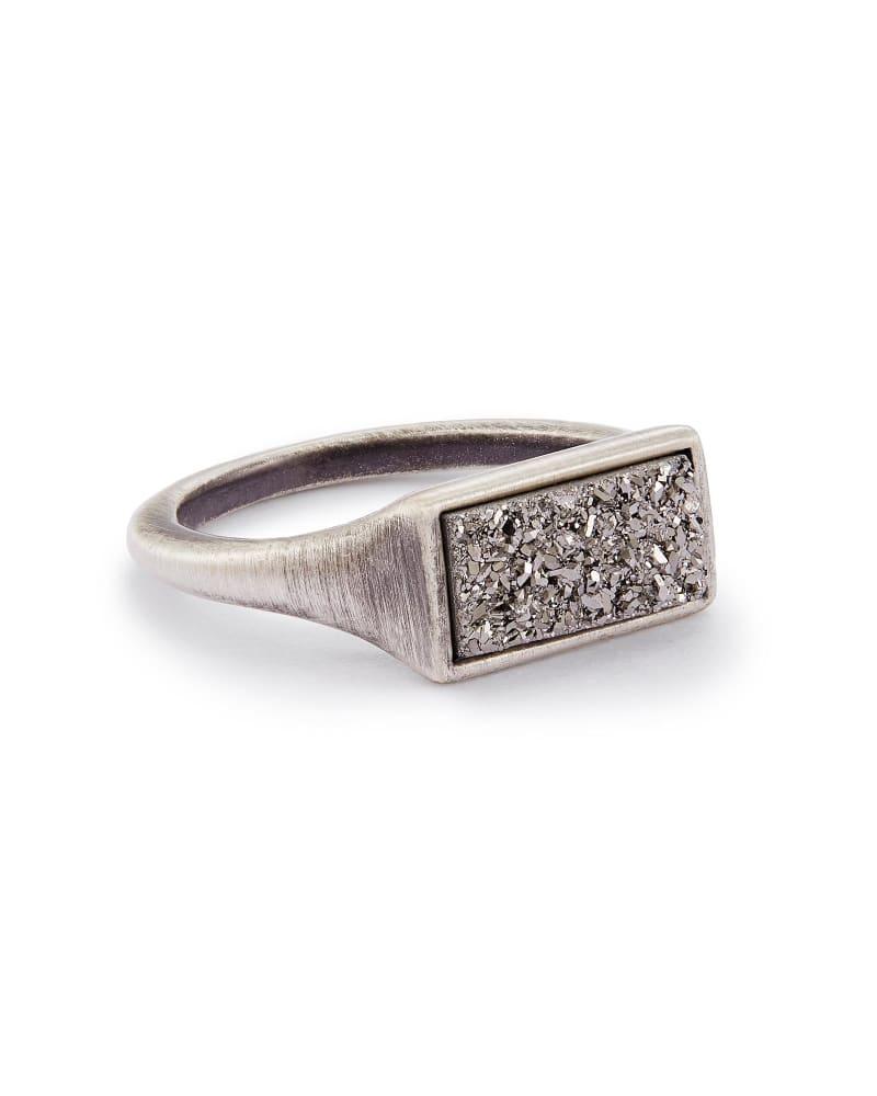 Glenna Cocktail Ring in Platinum Drusy