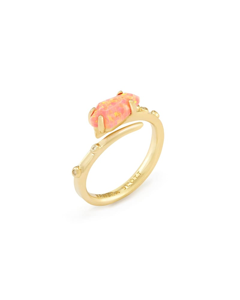 Julia Ring in Coral Kyocera Opal - M/L