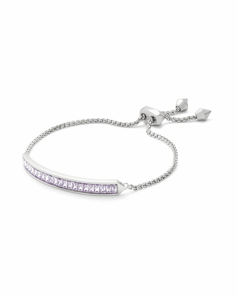 Jack Silver Chain Bracelet in Lilac Crystal