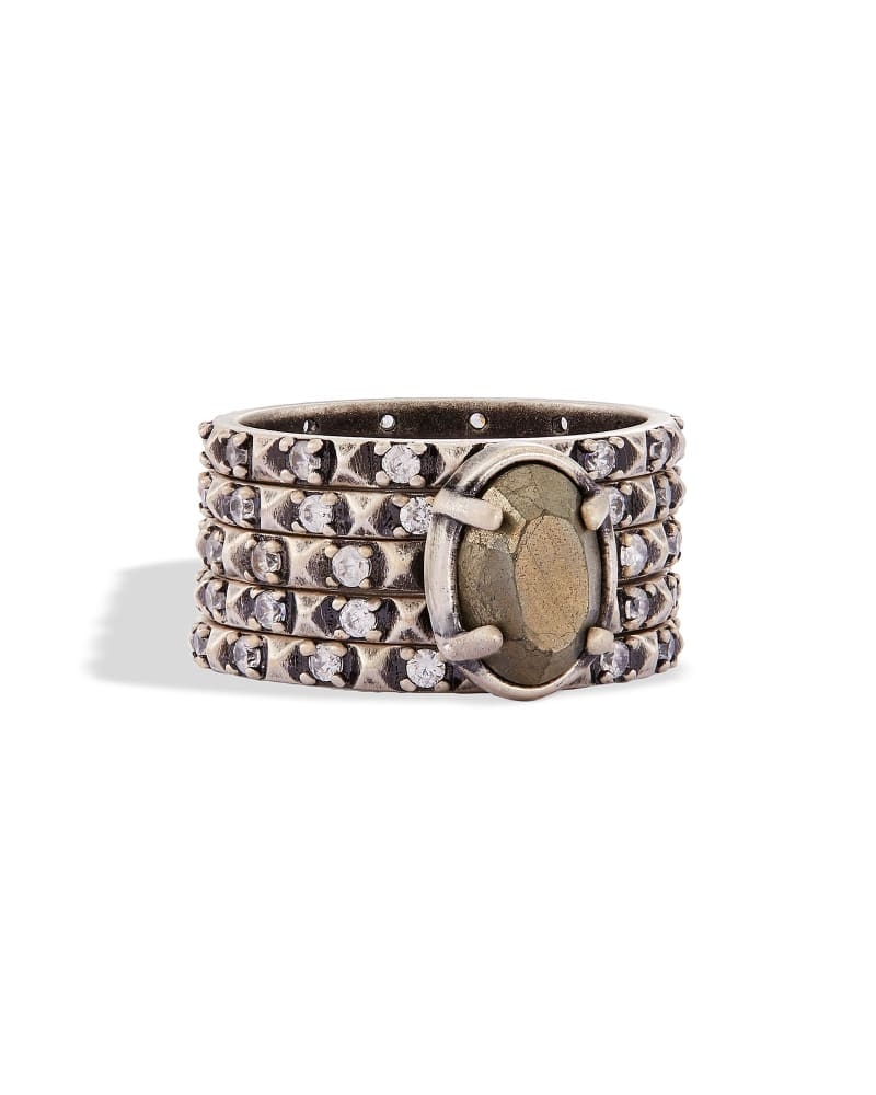 Reya Stackable Ring Set in Antique Silver