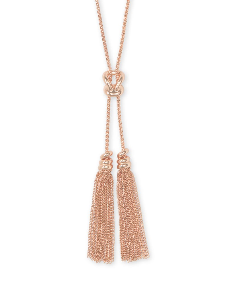 Presleigh Love Knot Y Necklace in Rose Gold