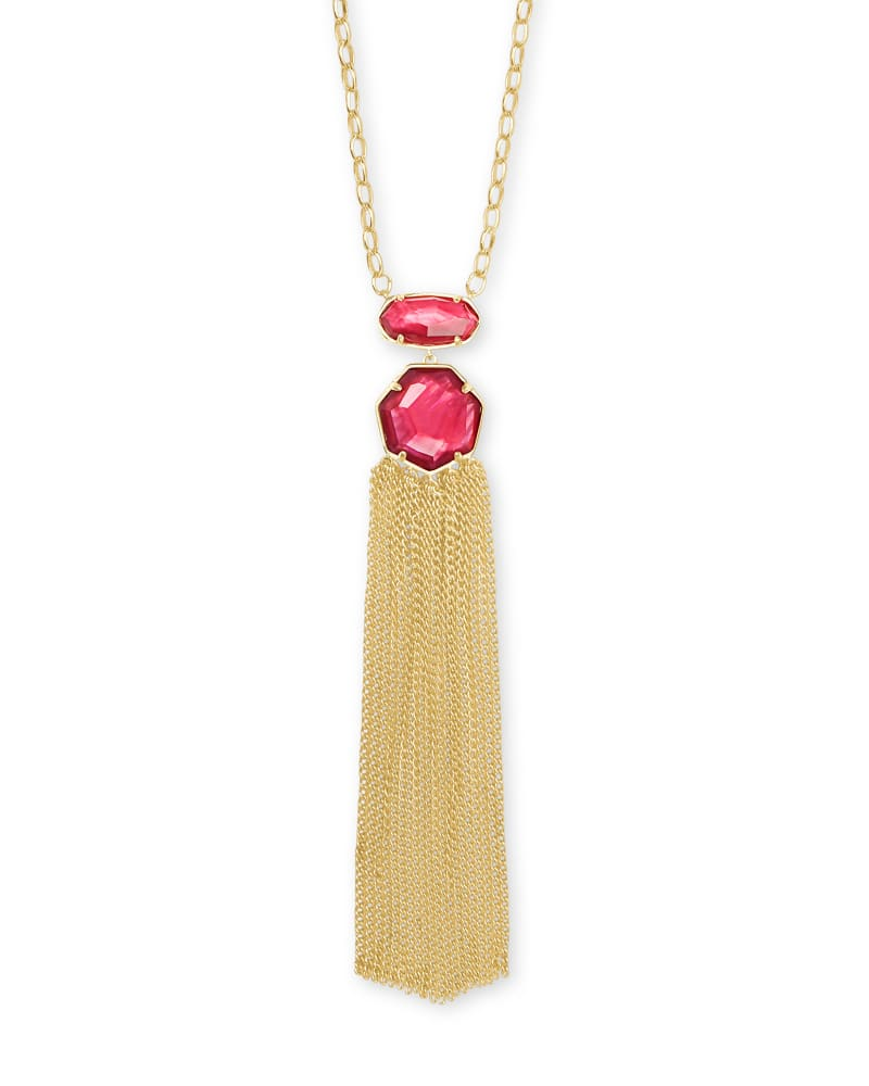 Tae Gold Pendant Necklace in Berry Illusion