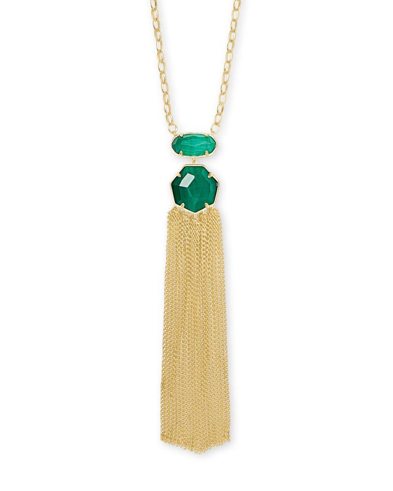 Tae Gold Pendant Necklace in Emerald Cat's Eye