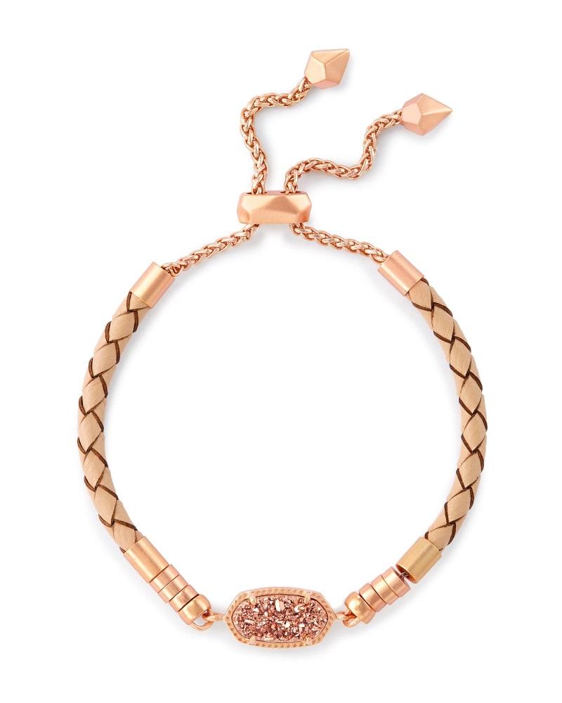 Cruz Adjustable Leather Bracelet in Rose Gold Drusy