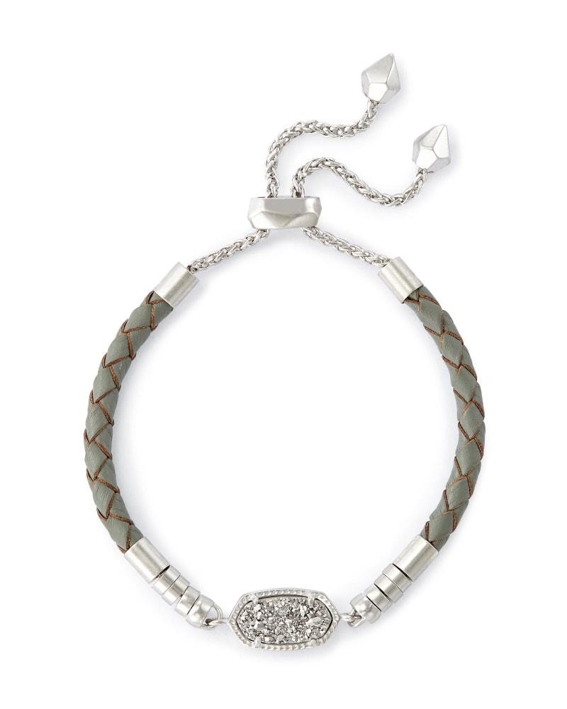 Cruz Adjustable Leather Bracelet in Platinum Drusy