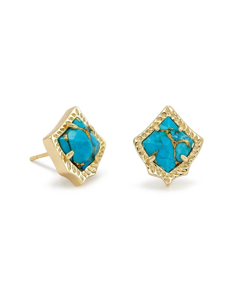 Kirstie Stud Earrings in Bronze Veined Turquoise Magnesite