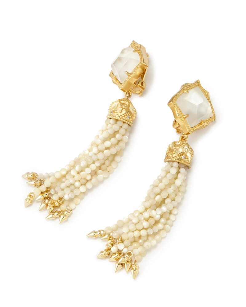 Misha Clip On Earrings in Ivory Pearl
