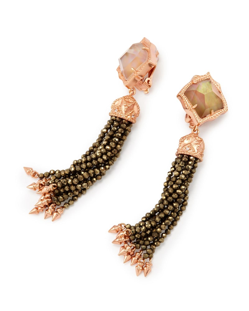 Misha Clip On Earrings in Brown Pearl
