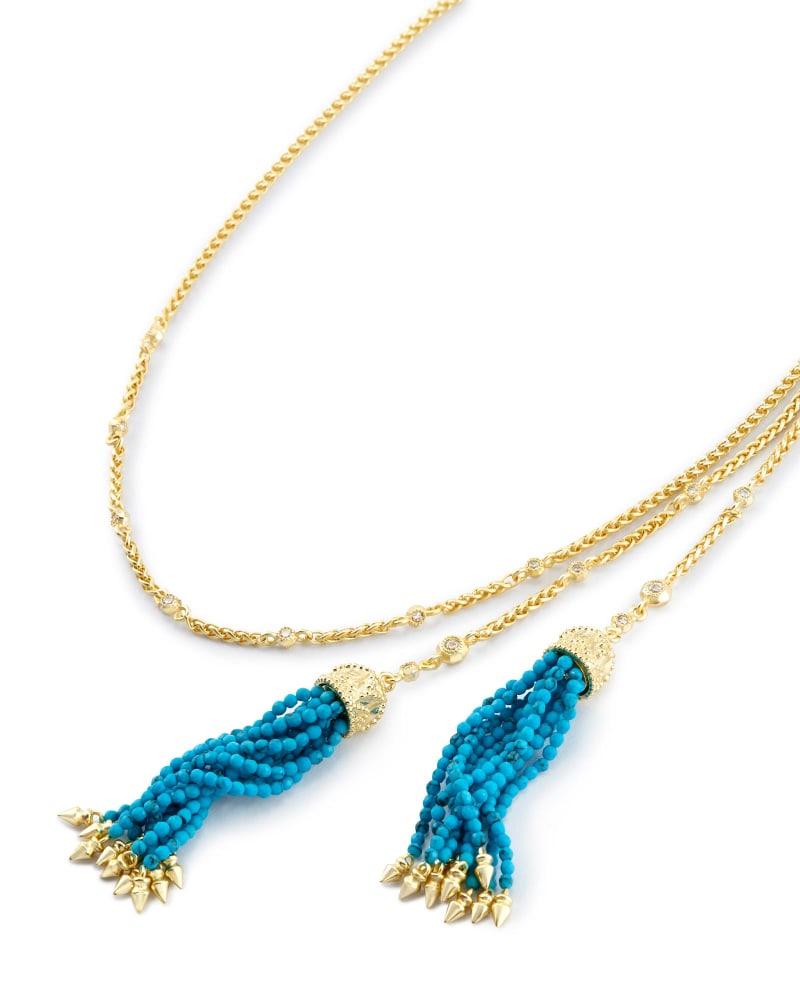 Monique Lariat Necklace in Bronze Veined Turquoise Magnesite
