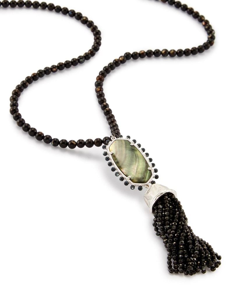 Tatiana Long Pendant Necklace in Black Pearl