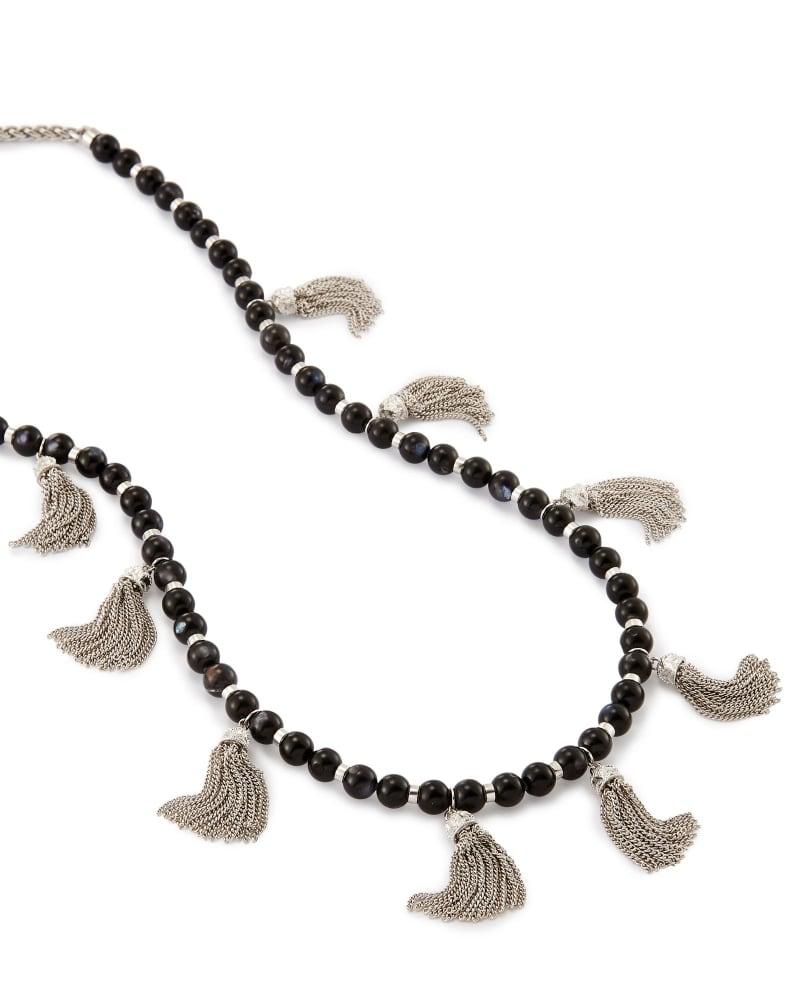 Vanina Long Necklace in Black Pearl