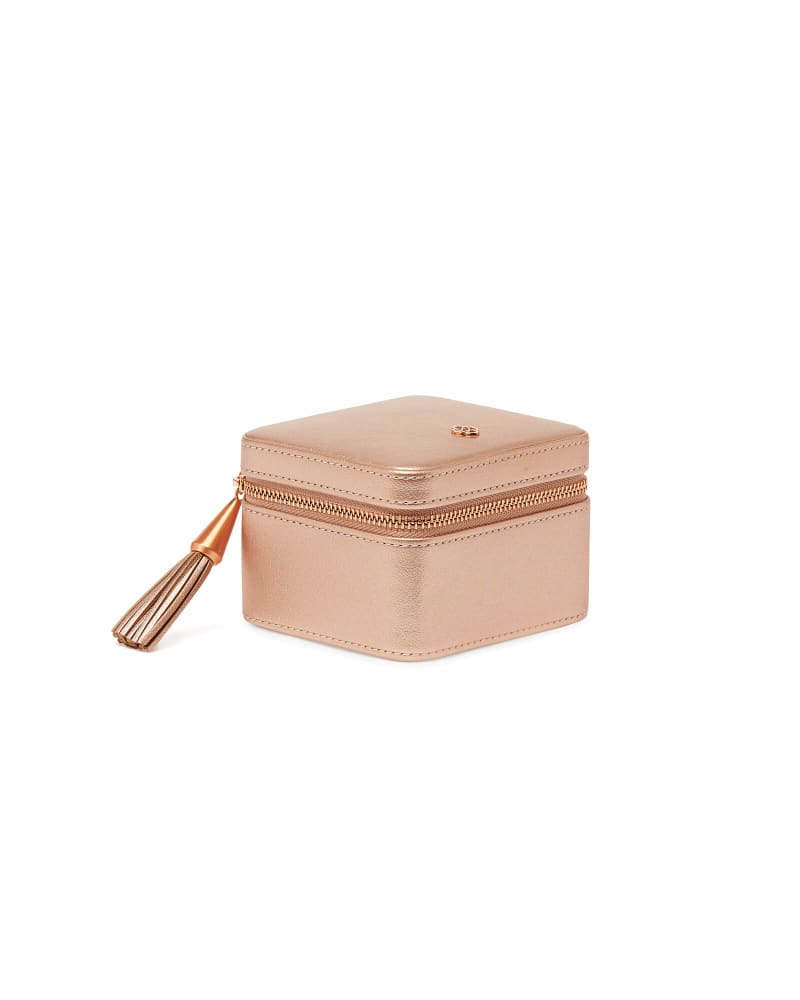 Small Travel Jewelry Case in Rose Gold