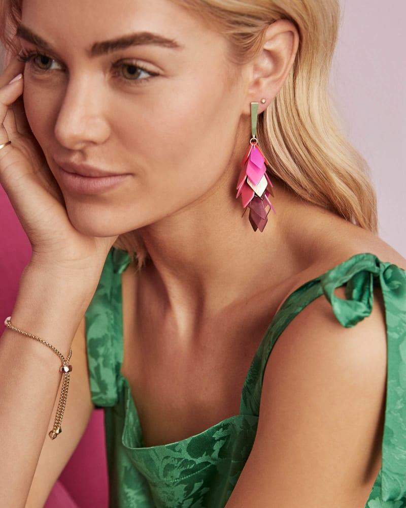 Jennifer Gold Statement Earrings in Pink Mix