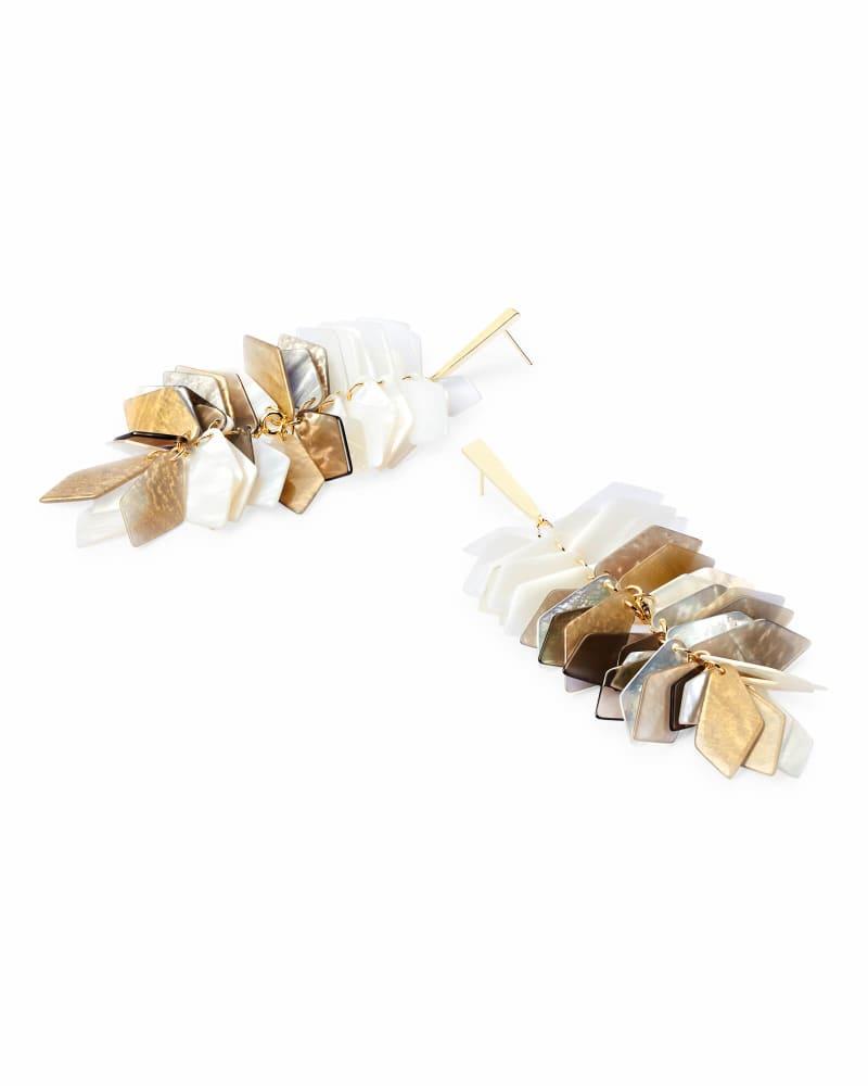 Jennifer Gold Statement Earrings in Ivory Mix