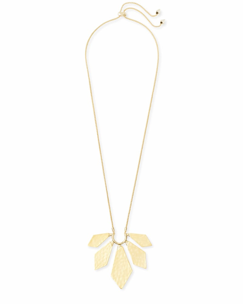 Mari Long Pendant Necklace in Gold