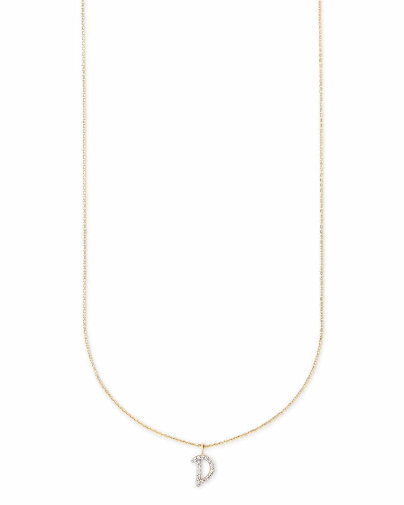 Diamond Letter D Pendant Necklace in 14K Yellow Gold