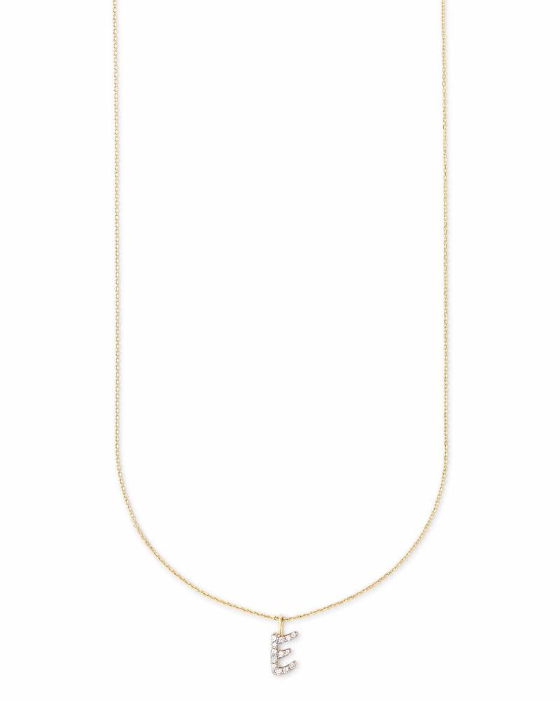 Diamond Letter E Pendant Necklace in 14K Yellow Gold
