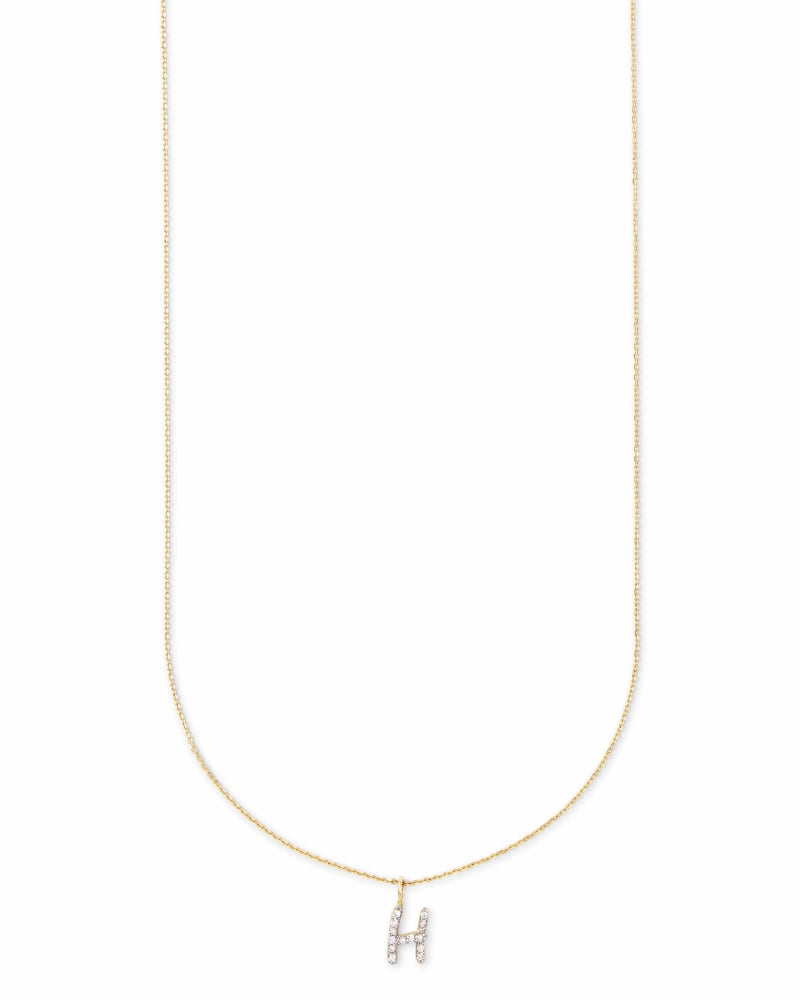 Diamond Letter H Pendant Necklace in 14K Yellow Gold