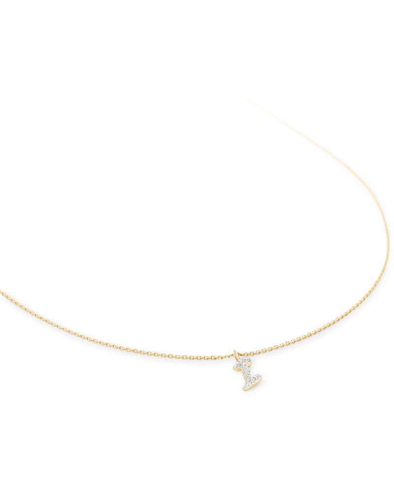 Diamond Letter I Pendant Necklace in 14K Yellow Gold