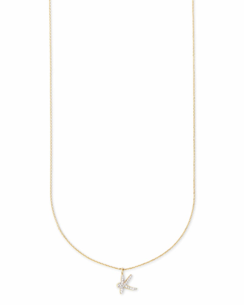 Diamond Letter K Pendant Necklace in 14K Yellow Gold