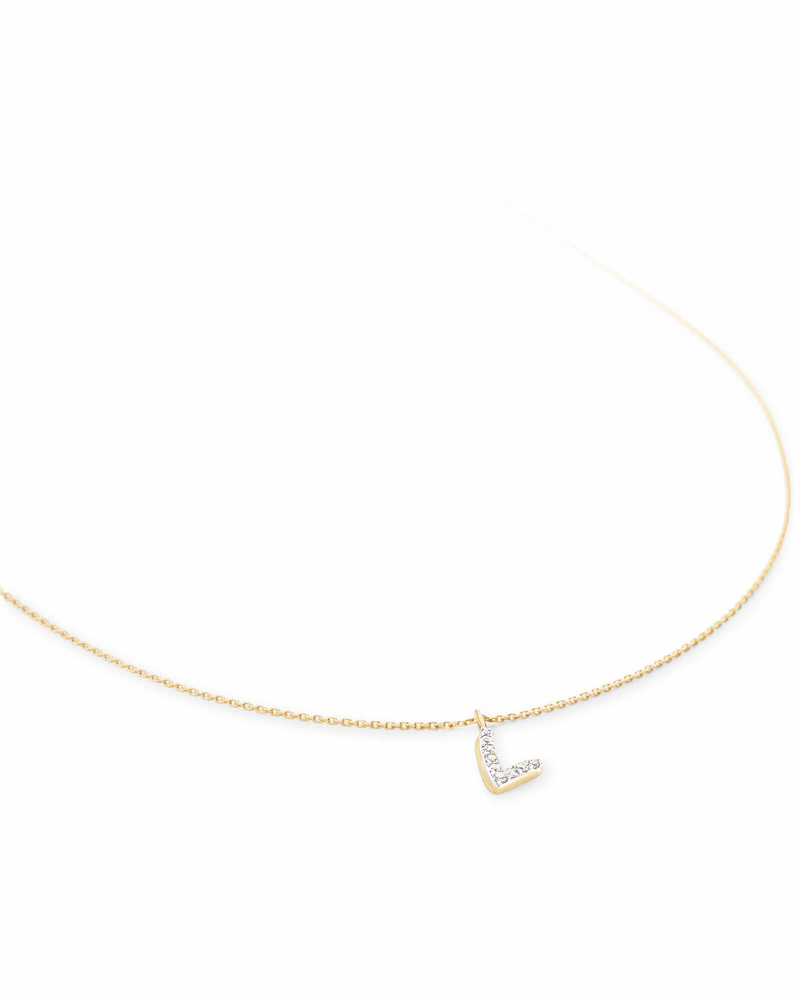 Diamond Letter L Pendant Necklace in 14K Yellow Gold