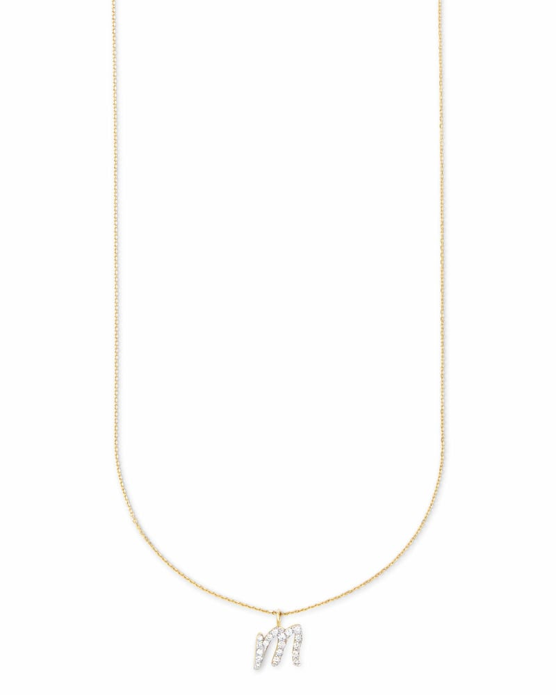 Diamond Letter M Pendant Necklace in 14K Yellow Gold
