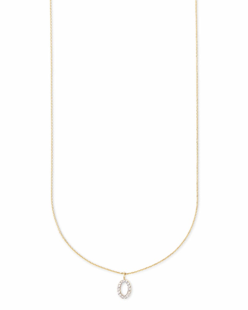 Diamond Letter O Pendant Necklace in 14K Yellow Gold