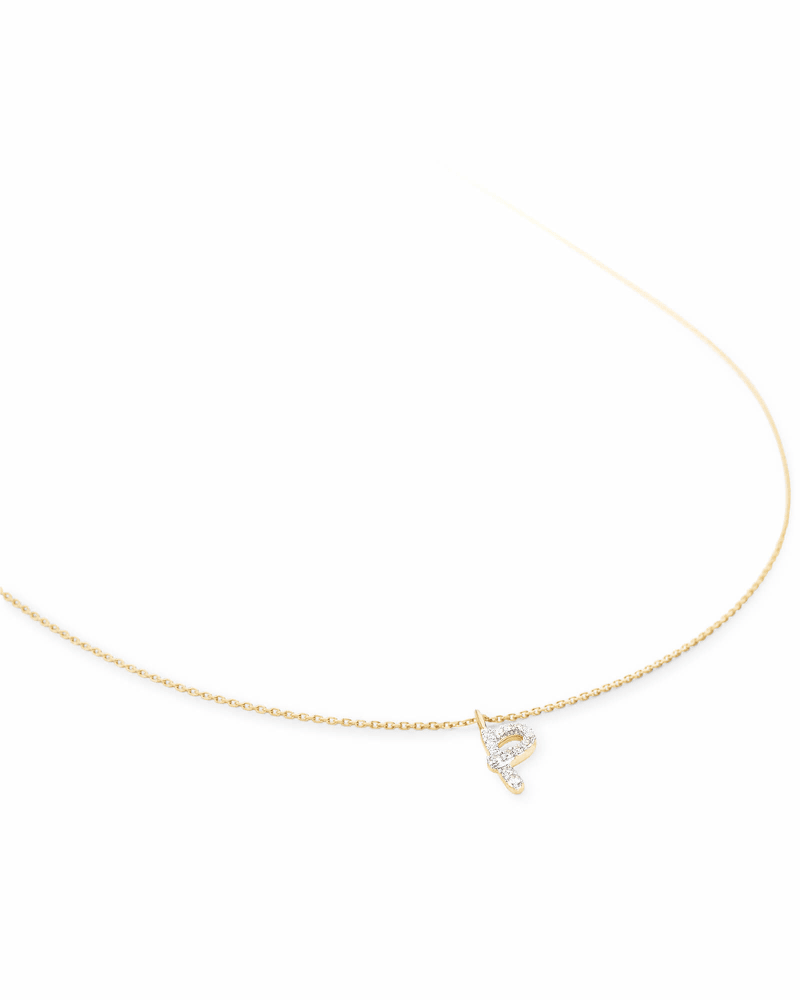 Diamond Letter P Pendant Necklace in 14K Yellow Gold
