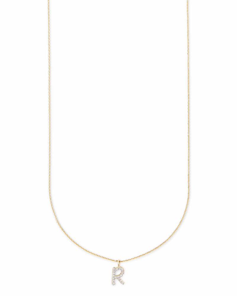 Diamond Letter R Pendant Necklace in 14K Yellow Gold