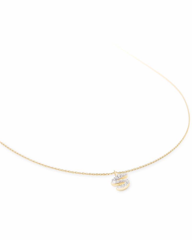 Diamond Letter S Pendant Necklace in 14K Yellow Gold