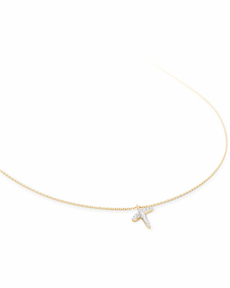 Diamond Letter T Pendant Necklace in 14K Yellow Gold