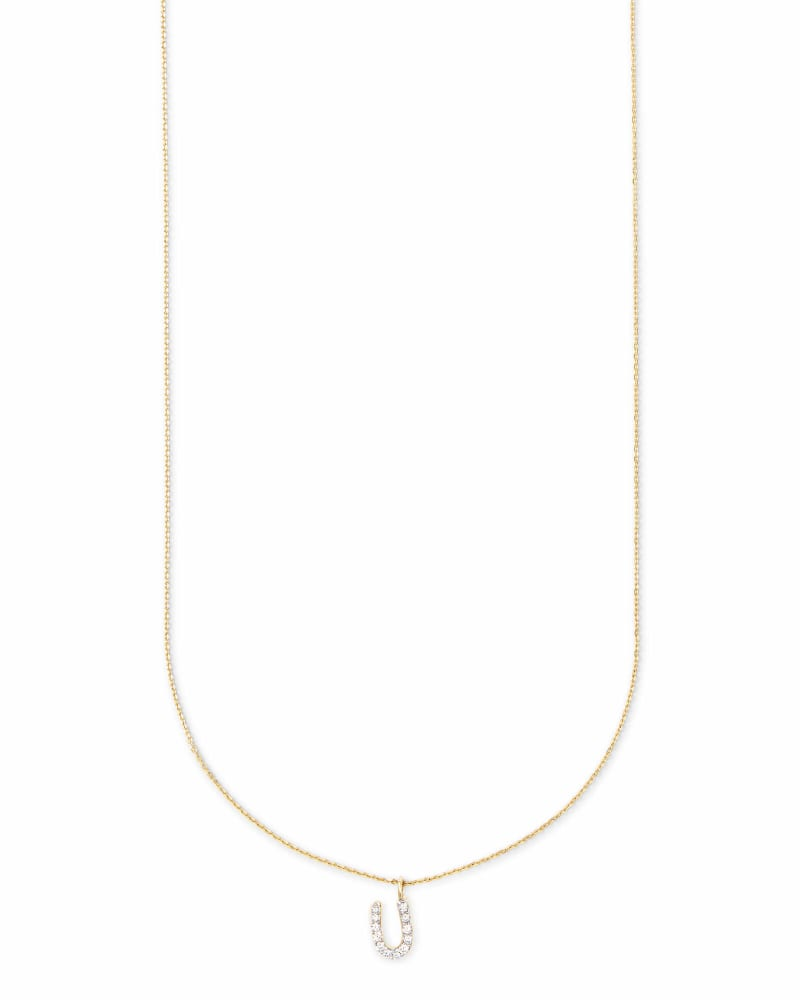 Diamond Letter U Pendant Necklace in 14K Yellow Gold