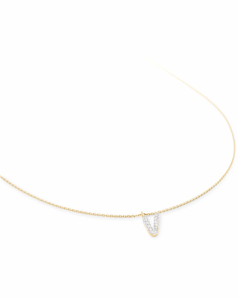 Diamond Letter V Pendant Necklace in 14K Yellow Gold