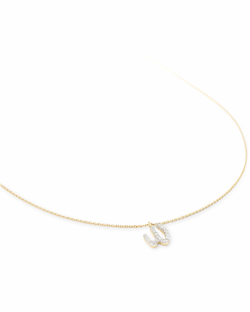 Diamond Letter W Pendant Necklace in 14K Yellow Gold