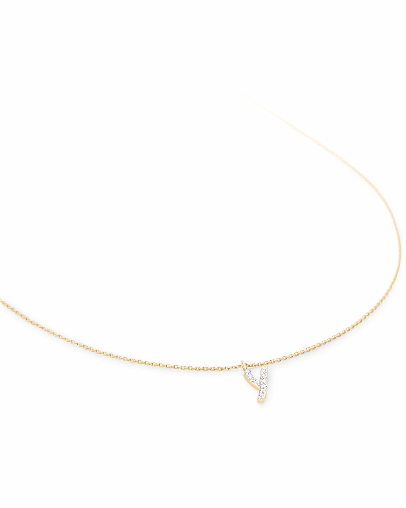 Diamond Letter Y Pendant Necklace in 14K Yellow Gold