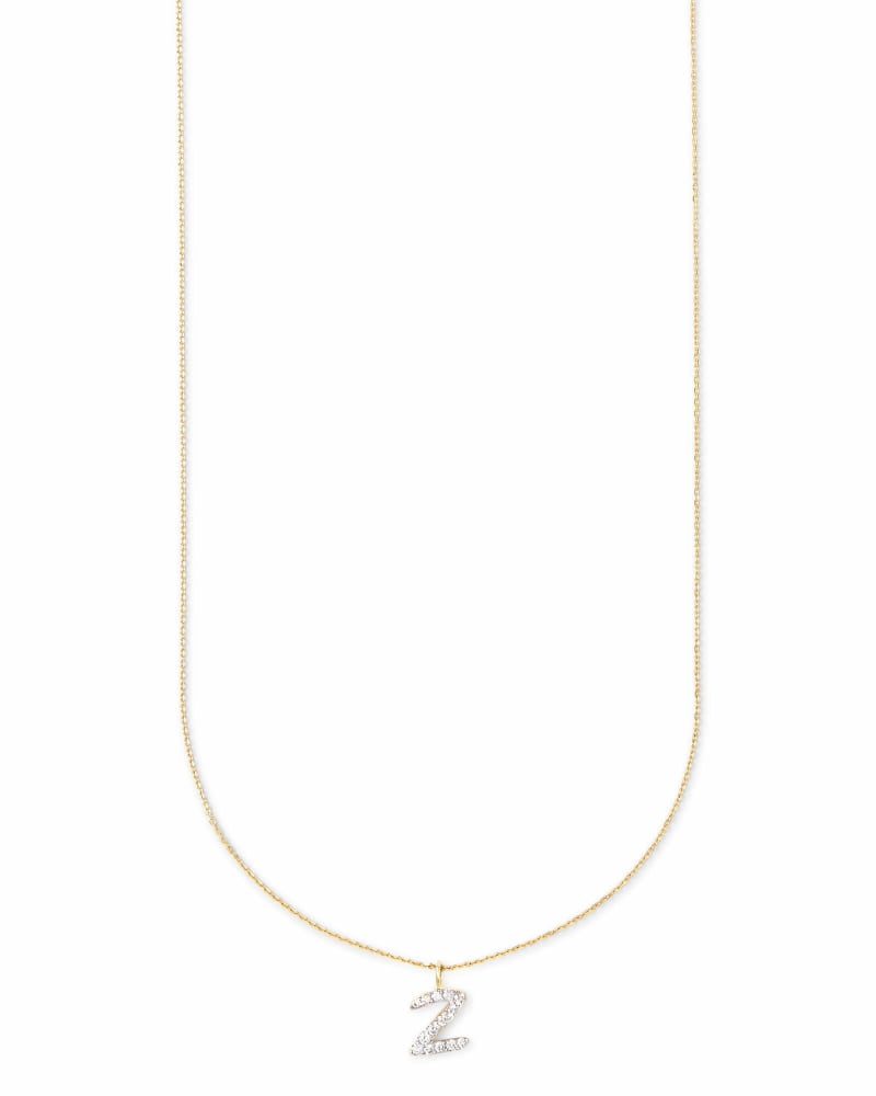 Diamond Letter Z Pendant Necklace in 14K Yellow Gold