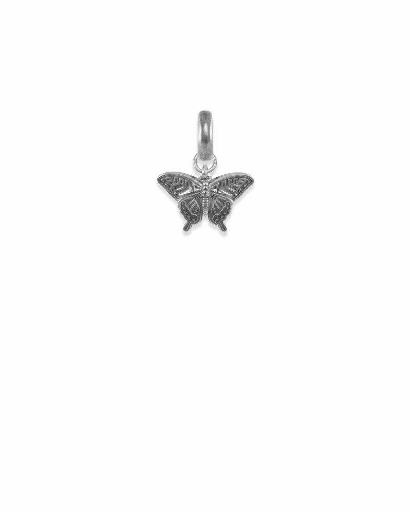 Alabama Swallowtail Butterfly Charm in Vintage Silver