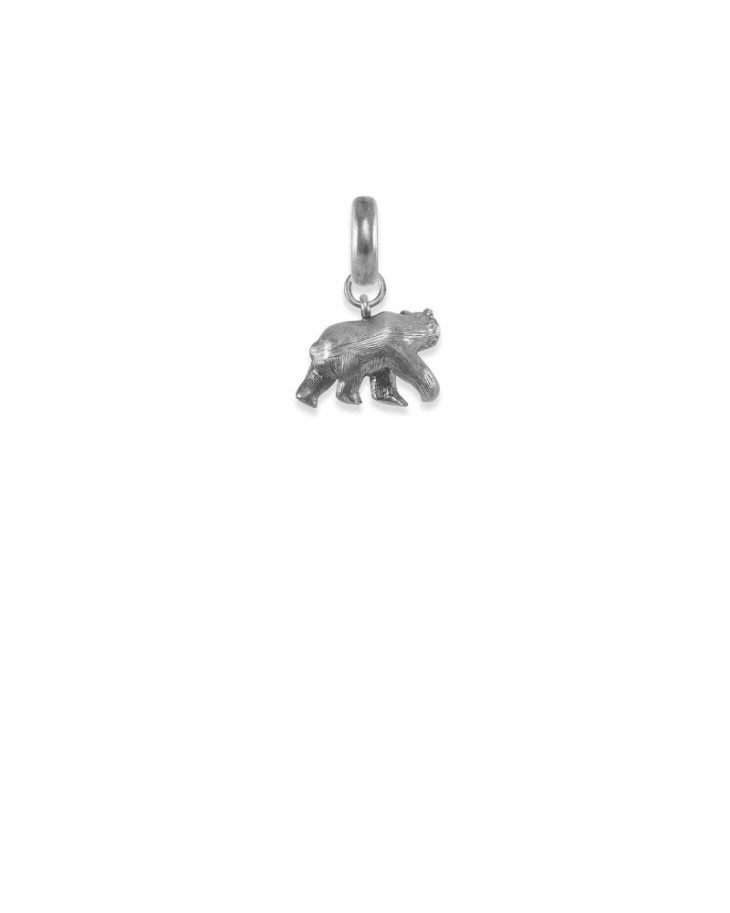 Colorado Black Bear Charm in Vintage Silver