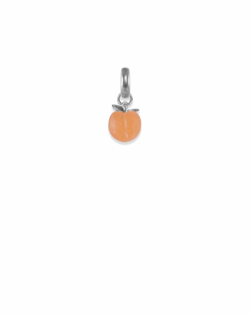 Georgia Peach Charm in Vintage Silver