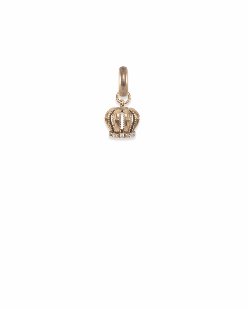 London Crown Charm in Vintage Gold