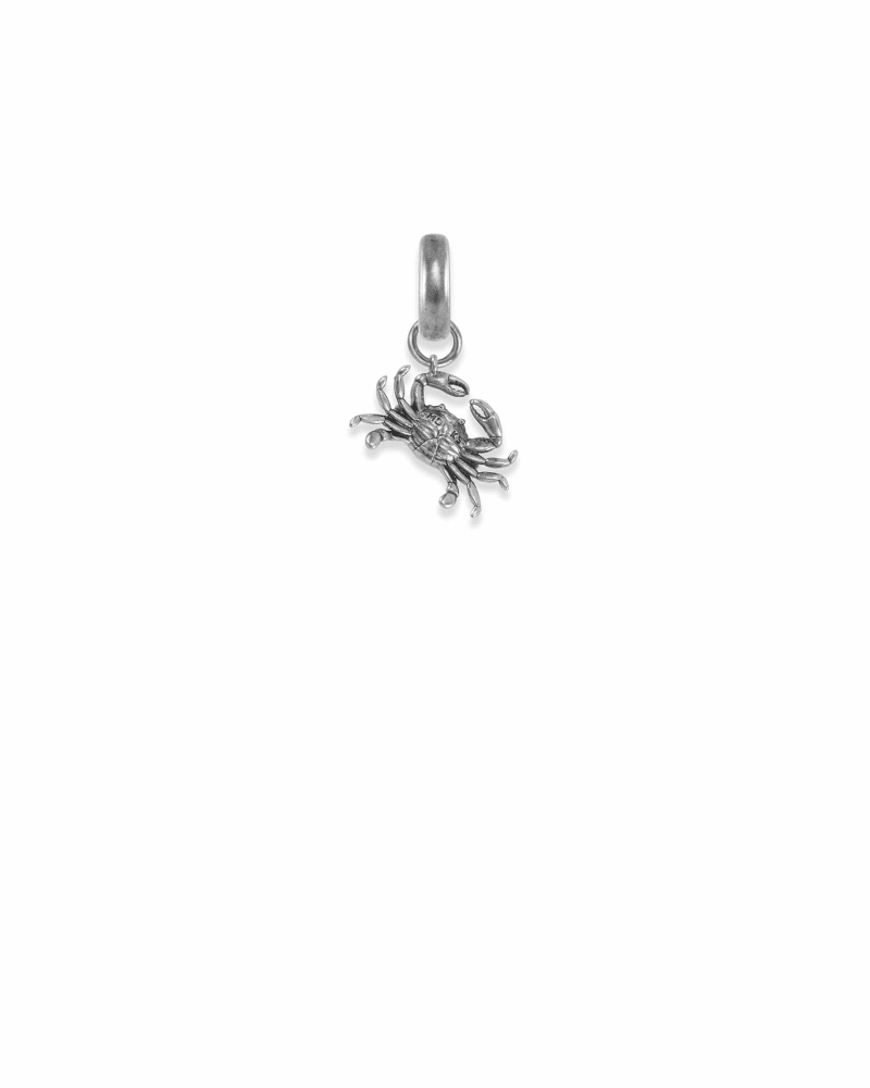 Maryland Blue Crab Charm in Vintage Silver