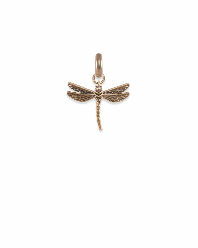 Michigan Dragonfly Charm in Vintage Gold