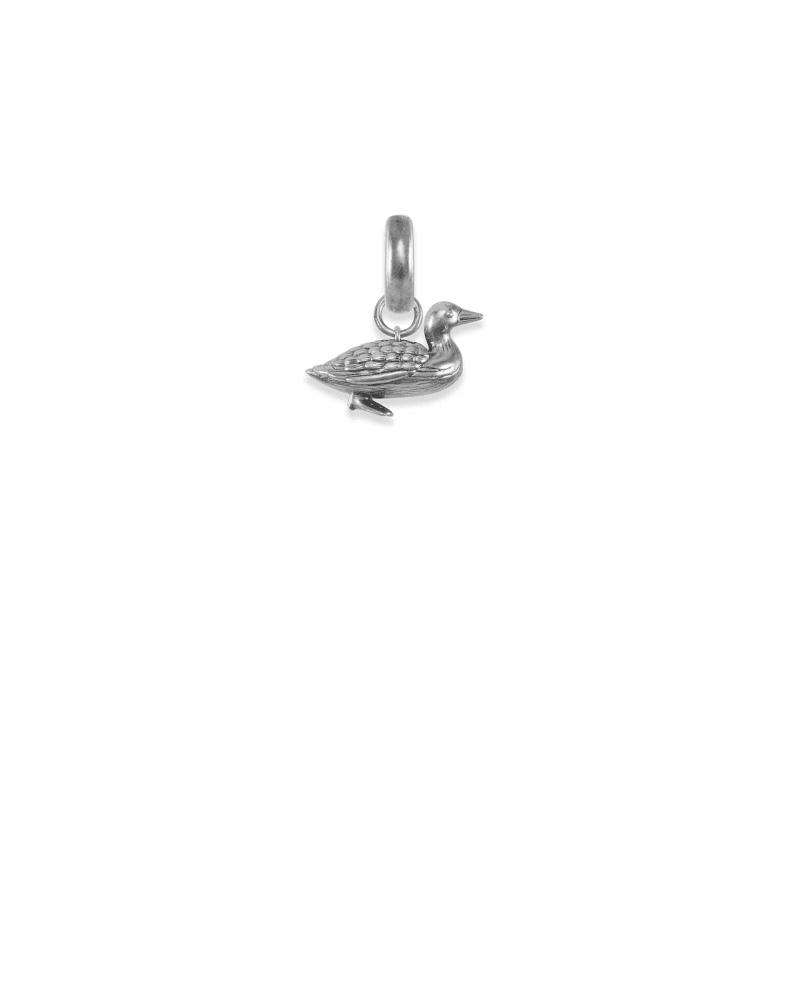 Minnesota Loon Bird Charm in Vintage Silver