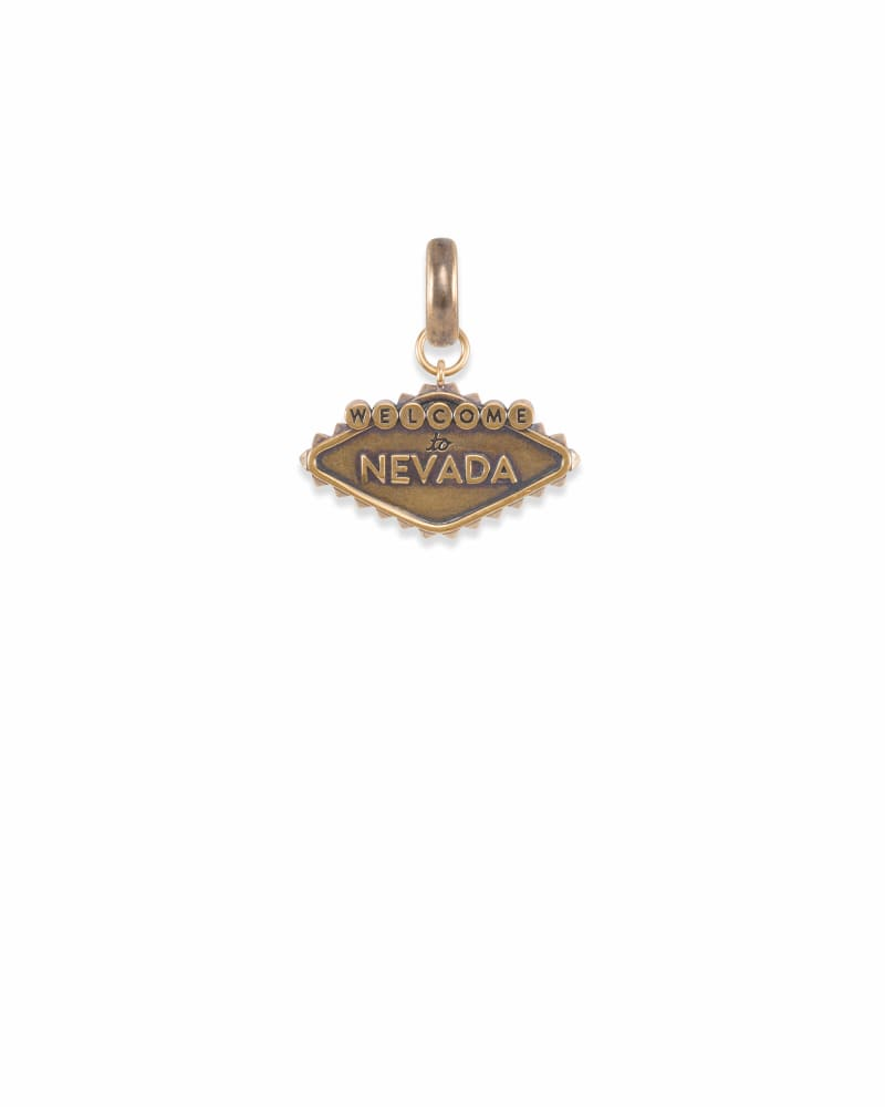 Nevada Las Vegas Sign Charm in Vintage Gold